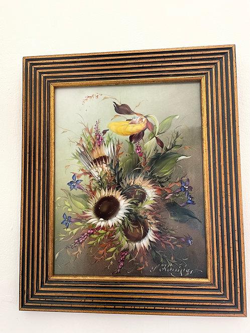 L. Königer. Dekoratives Blumenstilleben Porzellanbild