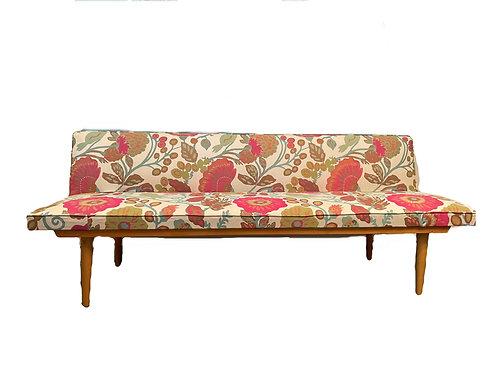 Chices Vintage Daybed / Sofa, neu tapeziert, 50er Jahre