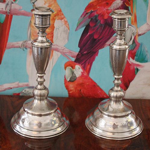 Silber Kerzenleuchten Paar Dianakopf Punze
