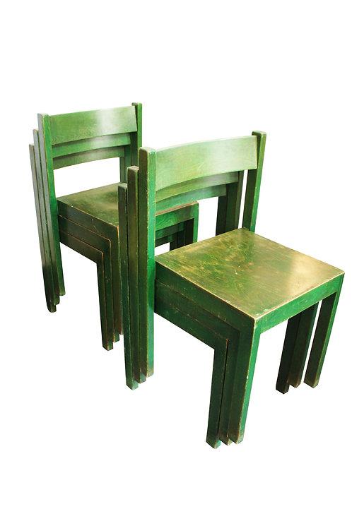 6 Stapelbare grüne Esszimmerstühle von Carl Auböck für E. & A. Pollak, 1956