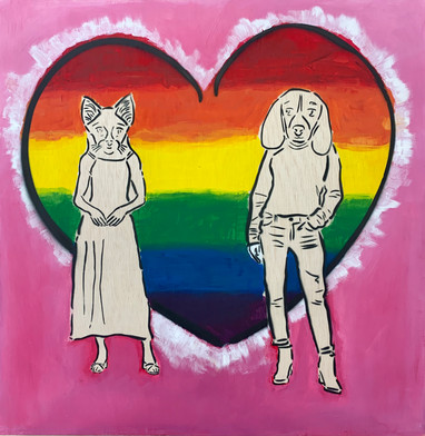 Grade 7 Street Art Activist project. Raising awareness for LGBT rights (Painted and spray painted version)