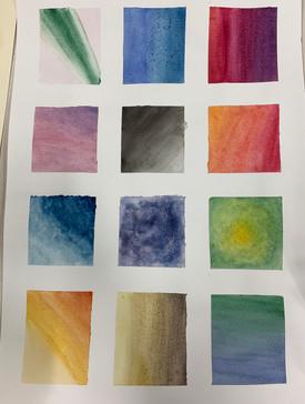 Grade 7 Watercolour techniques practice page