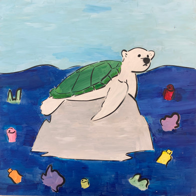 Grade 7 Street Art Activist project. Raising awareness Plastic Pollution (Painted and spray painted version)