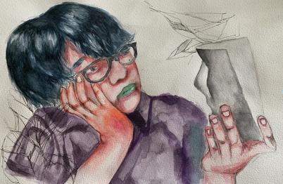 Grade 8 Portrait in watercolour inspired by Esra Rose