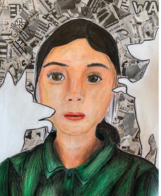 Grade 8 self Portrait (Ciollaged and Pencils)