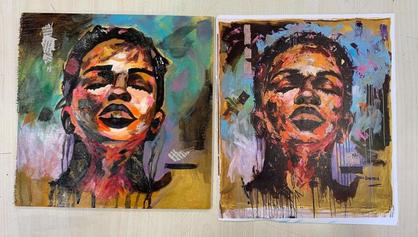 Stunning grade 8 visual analysis. Attempting to copy their chosen artists style #thabisodakamela