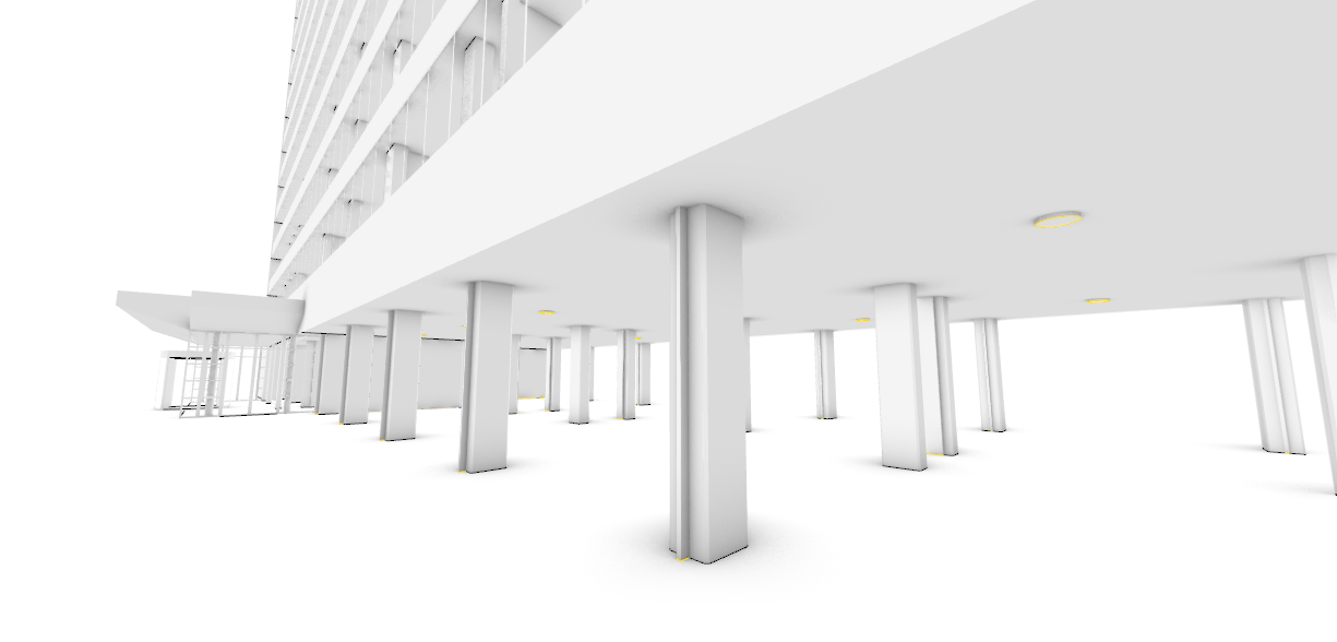 PERSPECTIVE VIEW, GROUND FLOOR PARKING AND ENTRANCE
