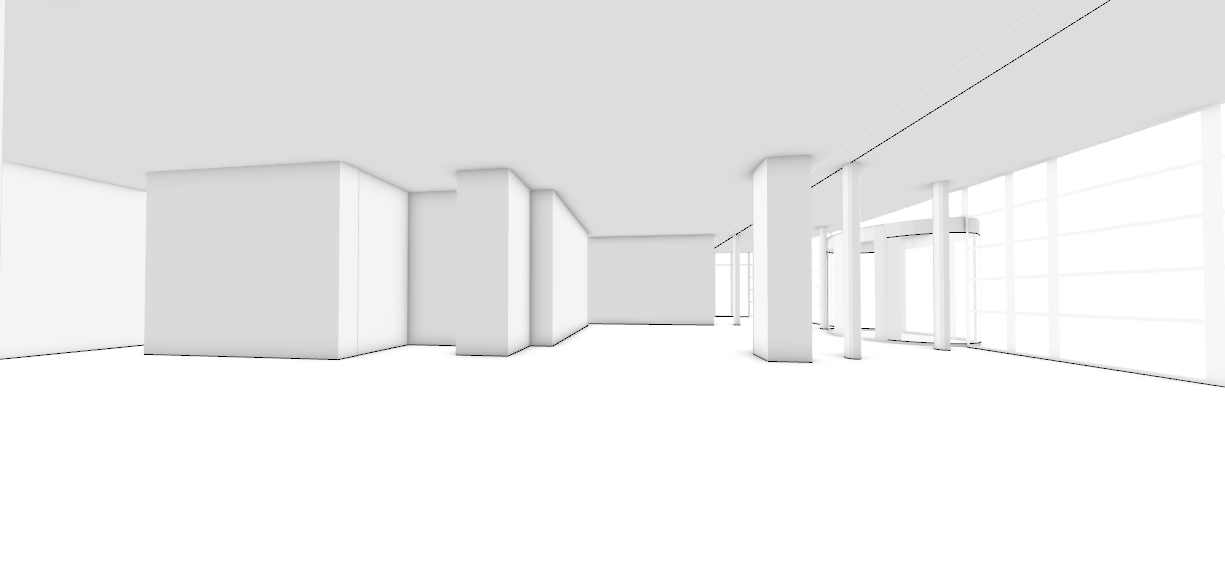 PERSPECTIVE VIEW, INSIDE MAIN LOBBY AREA
