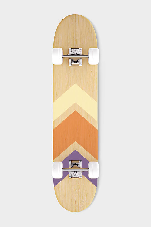 purple yellow skateboard bottom with white wheels