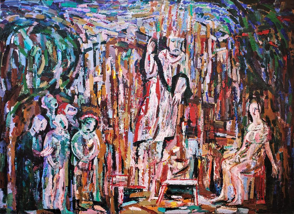 """Владимир Опара """"Царь Давид, Скорбная Родина-Мать и хор имени Джотто"""", 1989, 160 Х 220"""