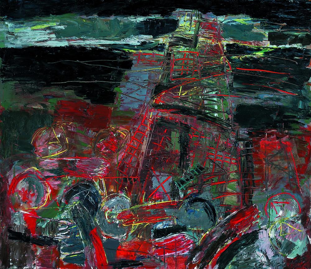 """Владимир Опара """"Строительство башни"""", 1992, 130 Х 150, Государственная Третьяковская Галерея"""