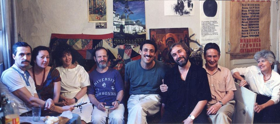 Andreay Grositskiy in studio with friends. Moscow 1990