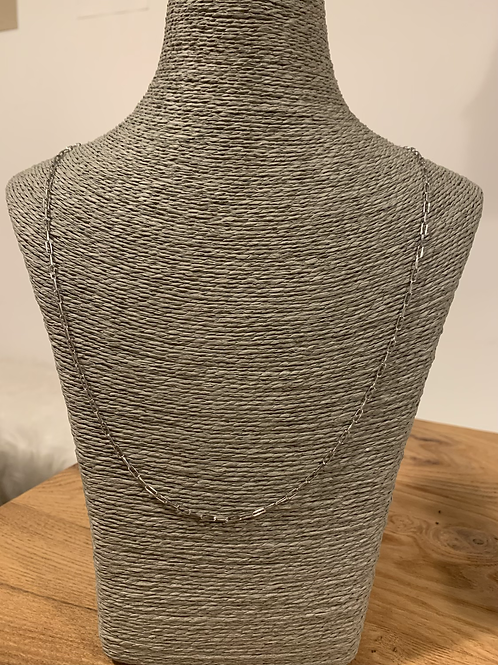 Sautoir Chaine maille allongée Fine 80cm Argent