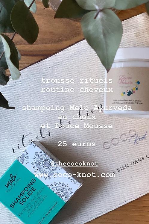 La trousse Rituel Cheveux Melo Ayurveda et Douce Mousse par COCO Knot