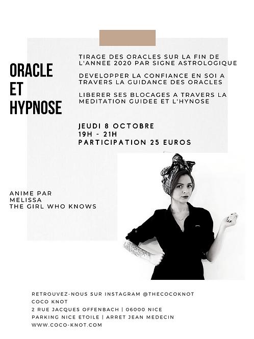 Oracle et Hypnose - Jeudi 8 Octobre 19h - 21h