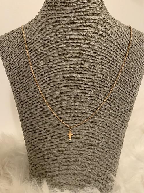 Chaine plaquée Or avec croix 65cm