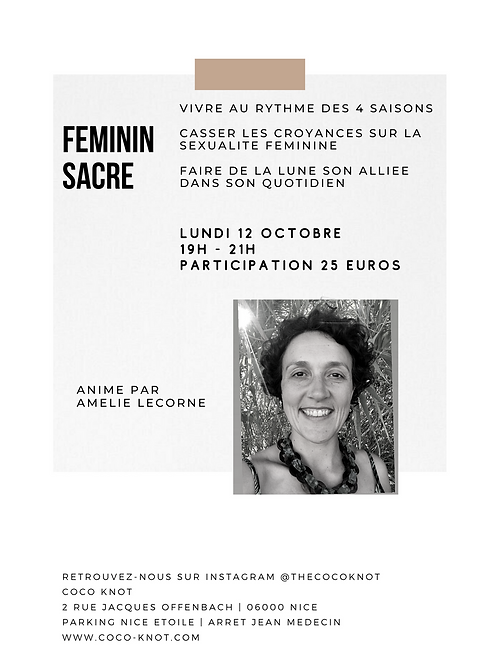 Feminin Sacré - 12 Octobre 19h - 21h