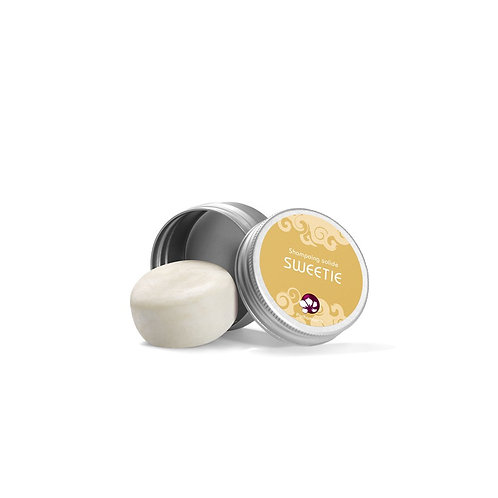SHAMPOING SOLIDE SWEETIE – FORMAT VOYAGE BOITE MÉTAL – 25G