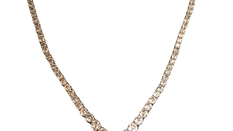 18ct White Gold Diamond Line Necklace