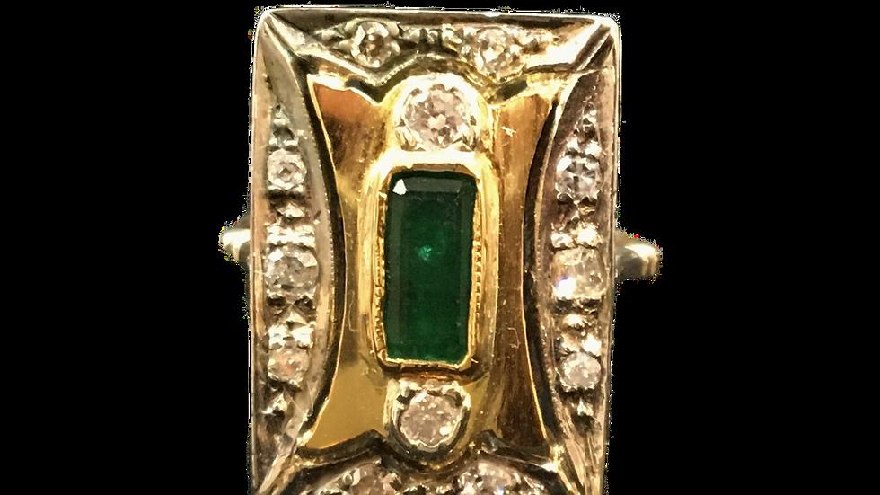 18ct Yellow & White Gold Emerald & Diamond Ring