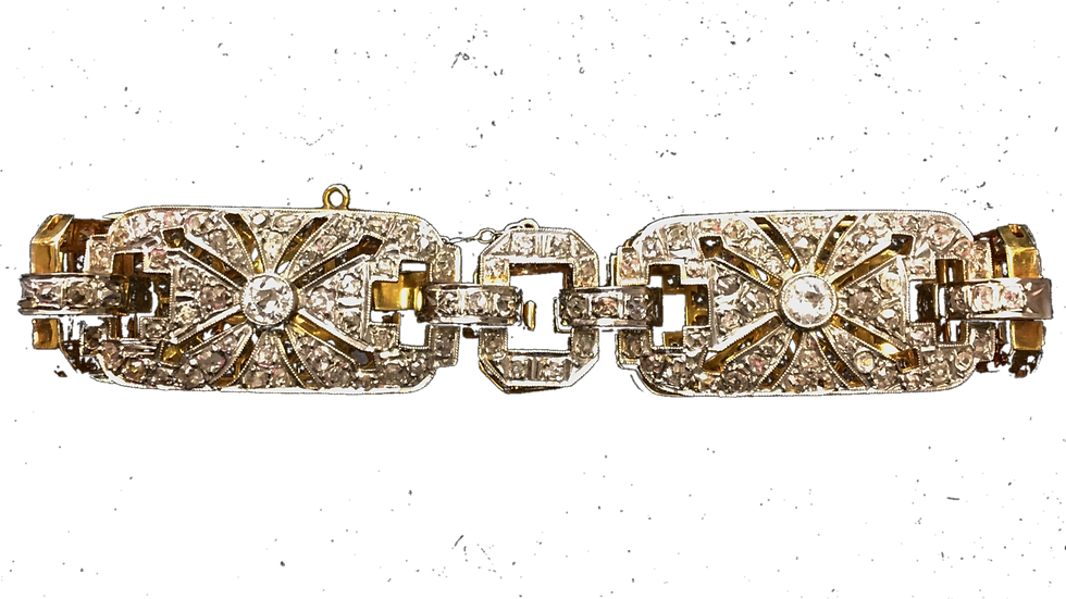 18ct Yellow Gold & Platinum Diamond Art Deco Bracelet