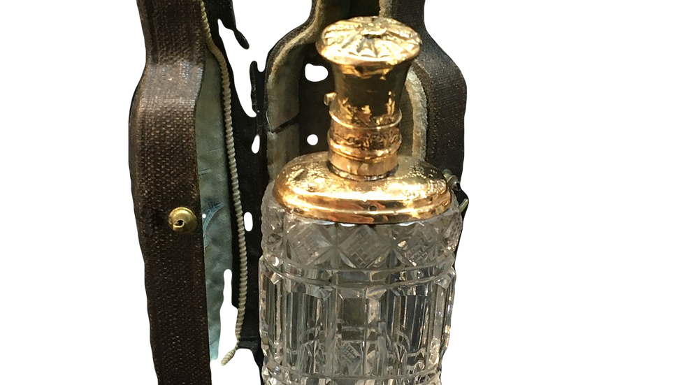 French 18ct Topped Glass Perfume Bottle C.1870