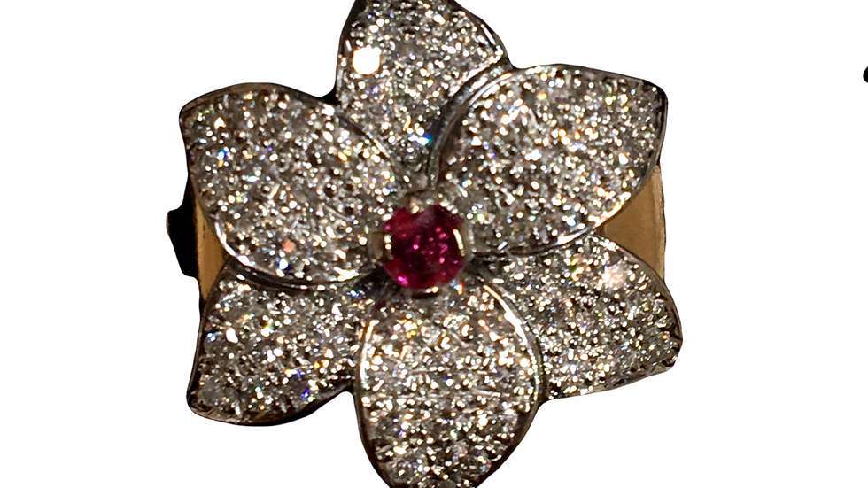 18ct Rose Gold Diamond & Ruby Ring