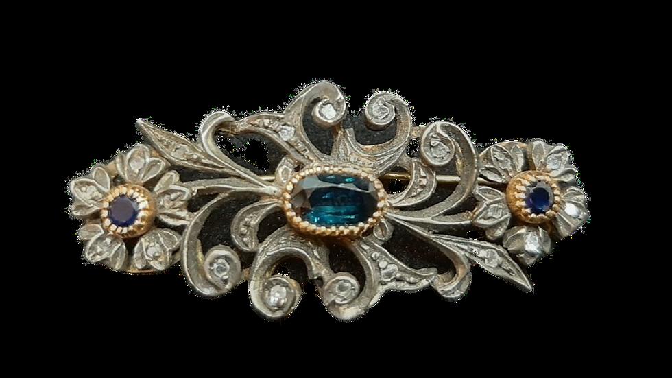 9ct Yellow Gold Diamond & Sapphire Brooch