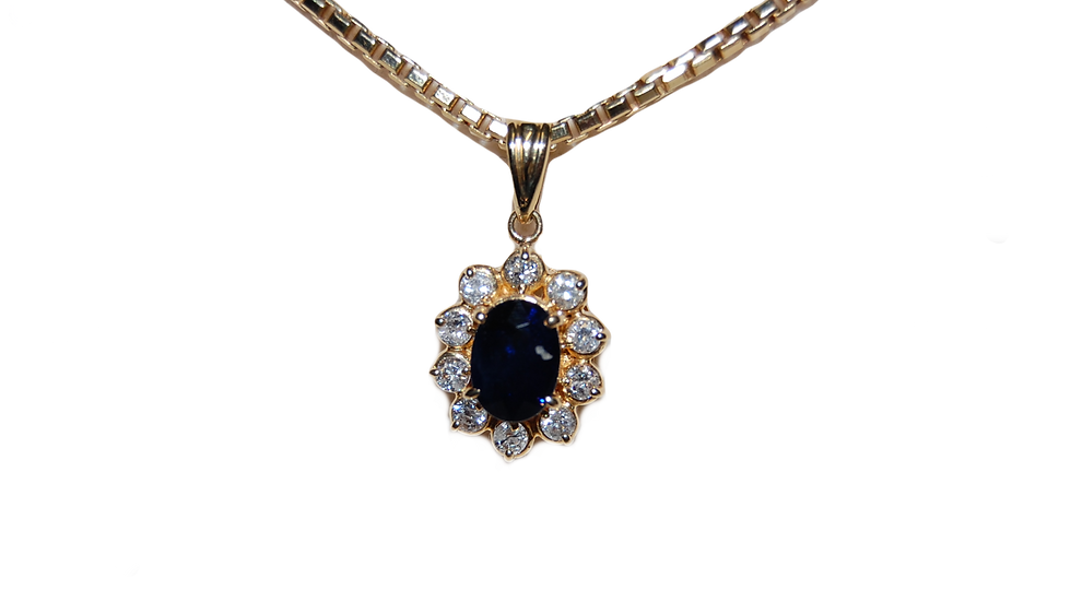 18ct Yellow Gold Sapphire & Diamond Necklace