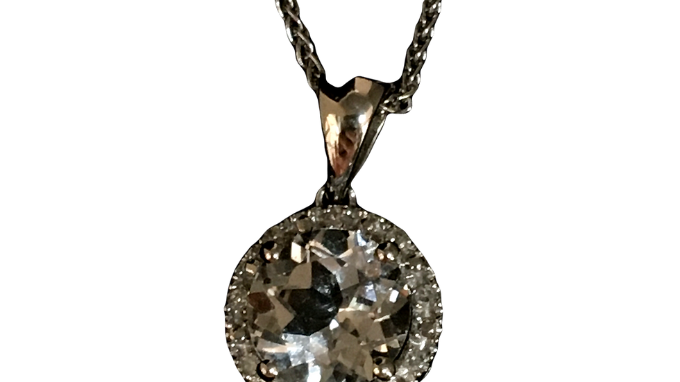 9ct white gold, White sapphire Neck