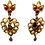Thumbnail: 9ct Yellow Gold Ruby & Pearl Earrings C.1920