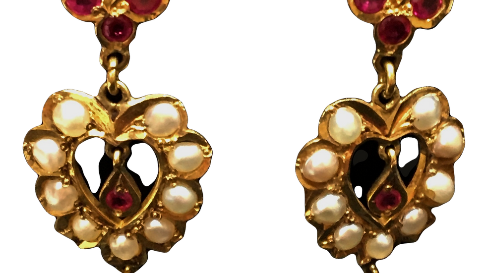 9ct Yellow Gold Ruby & Pearl Earrings C.1920