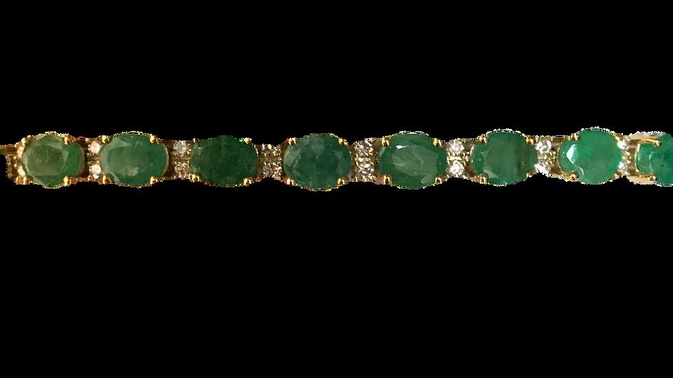 9ct Emerald & Diamond Line Bracelet