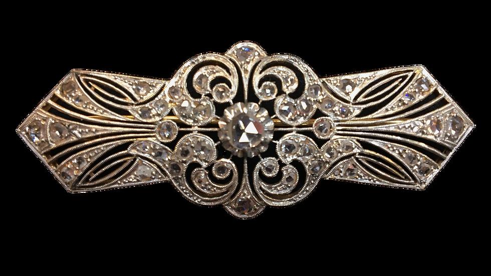 18ct Yellow gold & Platinum Diamond Brooch