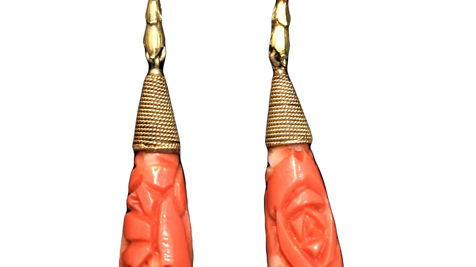 9ct Yellow Gold Coral Earrings C.1910