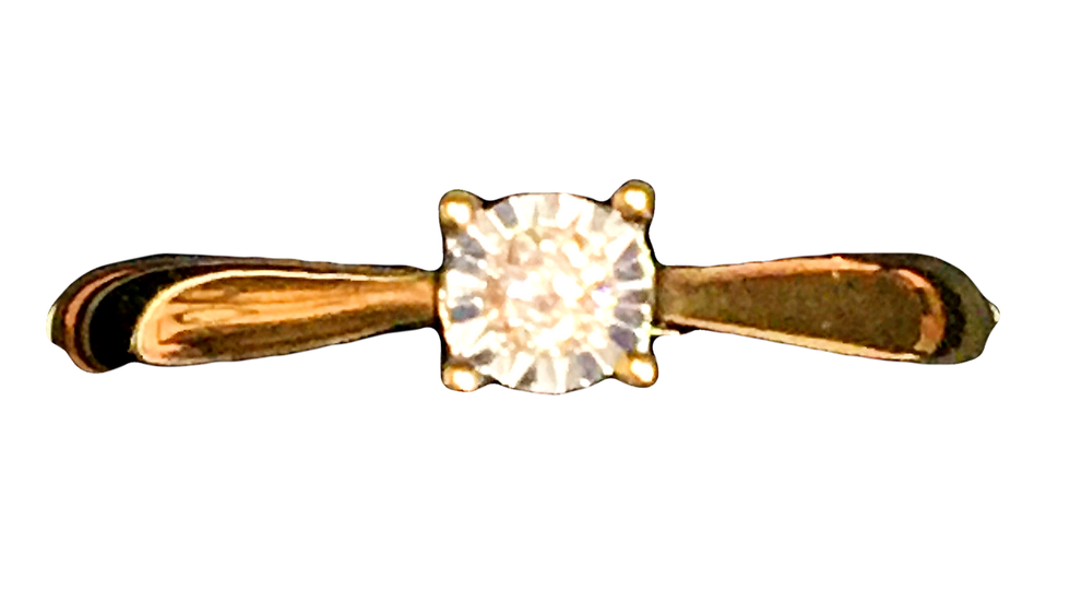 9ct Yellow Gold Solitaire 0.05ct Diamond Ring