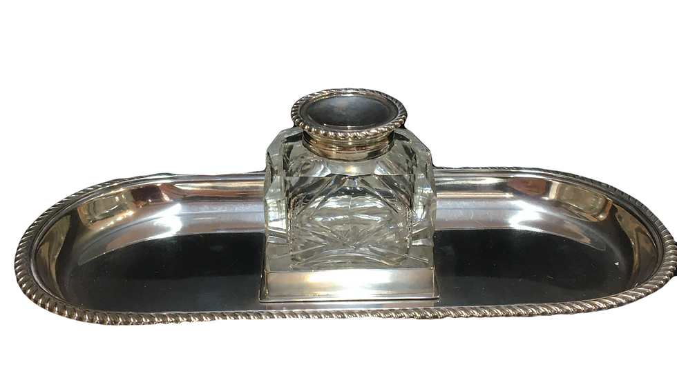 Silver & Glass Ink Pot & Tray London 1901