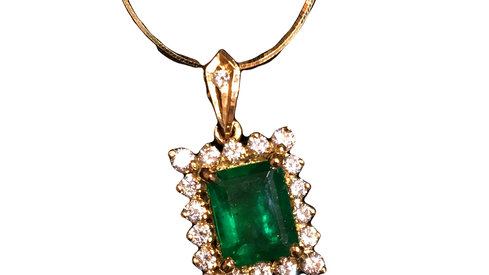 18ct Yellow Gold & Emerald Necklace