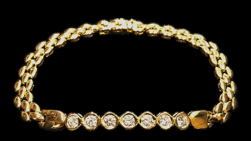18ct Yellow Gold Diamond Tennis Bracelet
