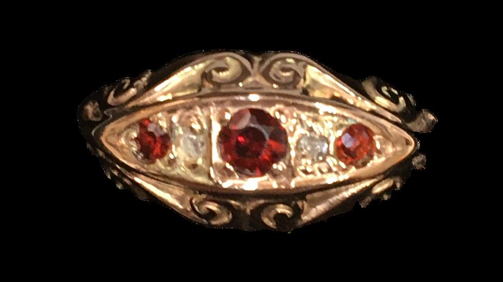 9ct Rose Gold Garnet & Diamond Ring