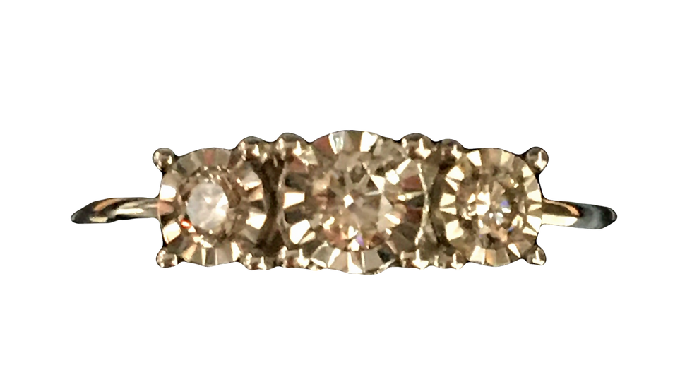 9ct White Gold 0.25ct 3 stone Diamond Ring