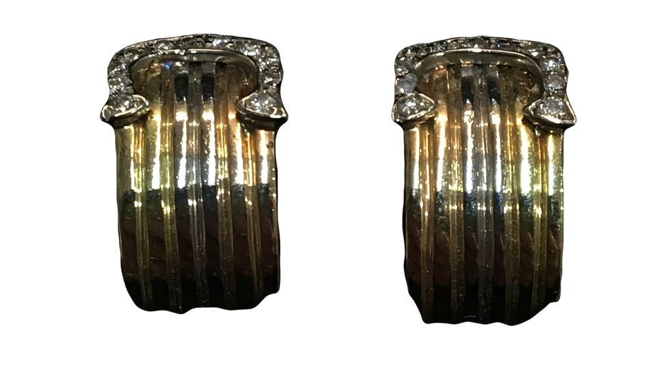18ct Diamond Three Tone Gold Hoop Earrings
