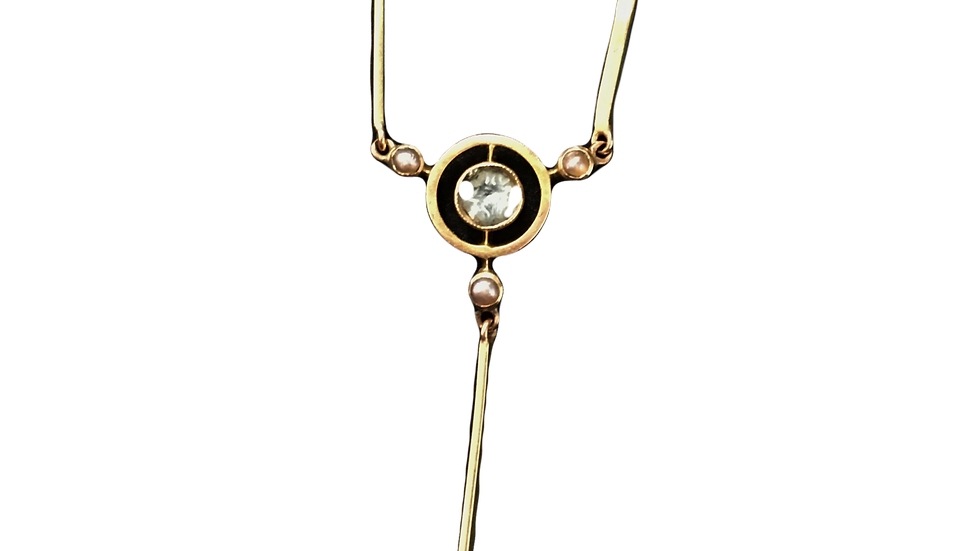 12ct Yellow Gold Aqaumarine & Seed Pearl Necklace C.1860