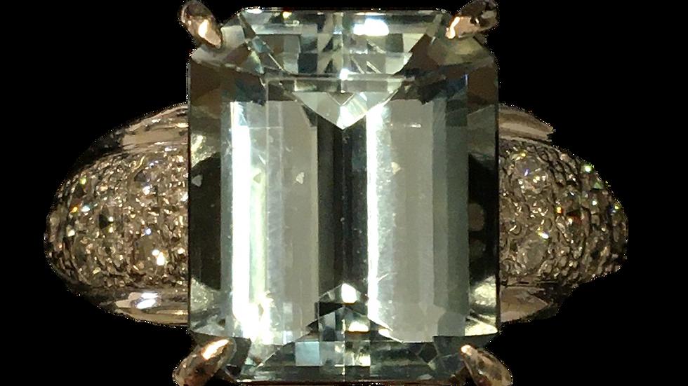 Platinum Aquamarine & Diamond Ring