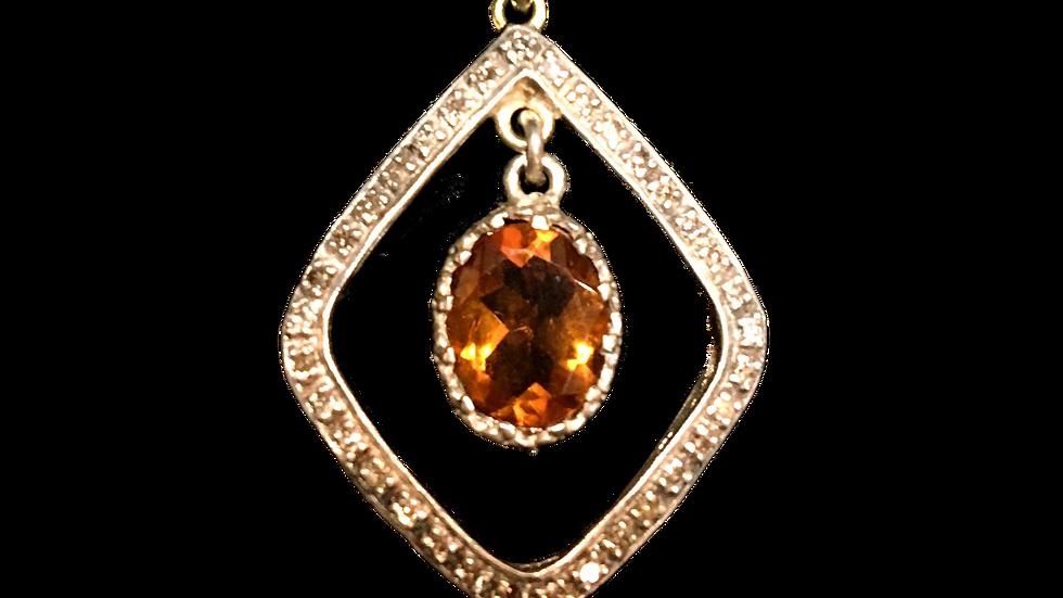 Silver Citrine & Diamond Victorian Pendent