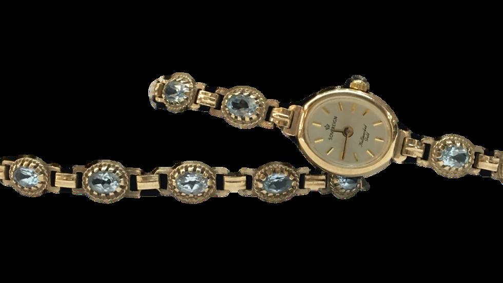 Sovereign 9ct Gold & Aquamarine Watch & Bracelet