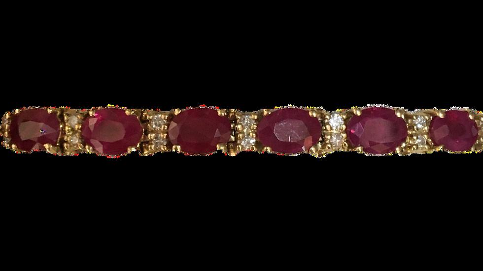 14ct Ruby & Diamond line bracelet