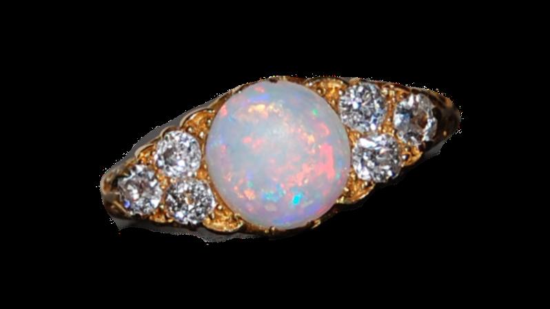 Yellow Gold Opal & Diamond Ring 1915