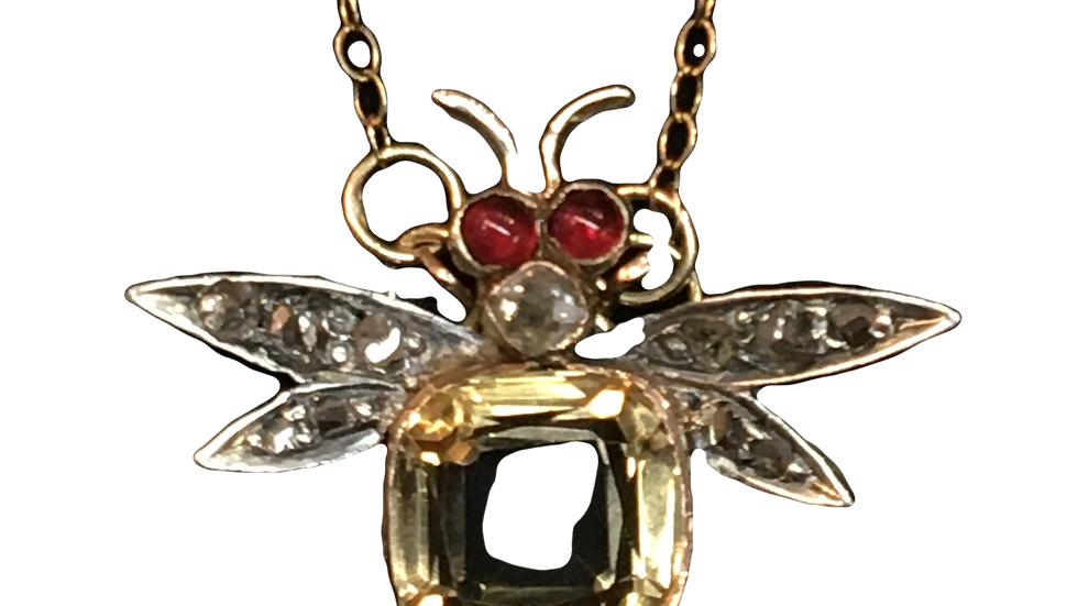 Yellow Gold Citrine & Ruby Fly Necklace