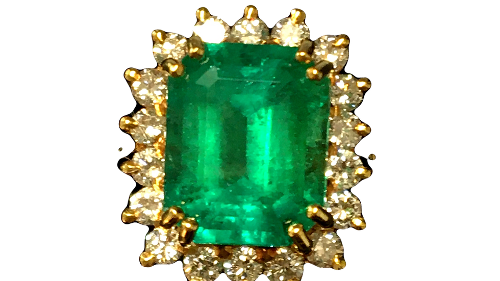 18ct Yellow Gold Emerald & Diamond Ring